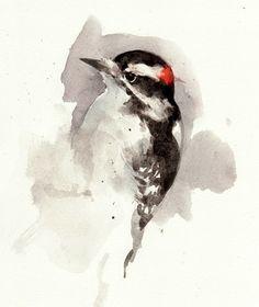 "Downy Woodpecker  $18  5x7"" Print from watercolor | 8x10"" White Mat    A print from a watercolor sketch of a Downy Woodpecker."
