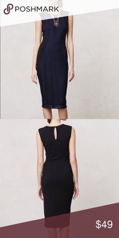 Anthropologie Navy Blue & Black Pencil Dress Anthropologie (Brand: Weston Wear) Islington Pencil Dress. Beautiful Dark Navy Blue And Black Lace Front Sheath. Figure Flattering Black Side Panels. Keyhole Button Back. Length is 45 inches from shoulder to the bottom hem. Anthropologie Dresses Midi