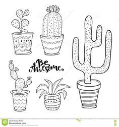 Illustration of Hand drawn succulent and cactus set. Doodle plants in pots. Vector line art set with cute house interior plants. vector art, clipart and stock vectors. Doodle Art Letters, Doodle Art Journals, Doodle Lettering, Cactus Flower, Flower Art, Potted Plants, Cactus Plants, Hilograma Ideas, Cactus Doodle