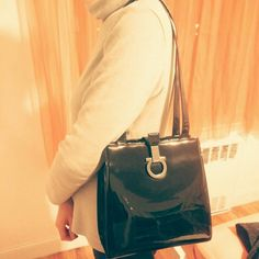 Authentic ferragamo bag Long straps shoulder bag. Shiny leather patent leather throughout with silky lining inside. Beautiful vintage piece w minor corners rub as seen on 3rd pix. Backhook style closure. No dust bag Salvatore Ferragamo Bags Shoulder Bags