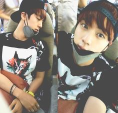 Before/after Jin's airplane selfie - BTS
