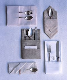 Dark gray double fold in center - pocket fold napkin to be placed on center of dinner plate.