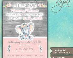 Elephant Baby Shower Invitations Girl, Rustic Wood Elephant Baby Shower Girl Invitations Printable Invites Baby Shower Watercolor - ESJMG1