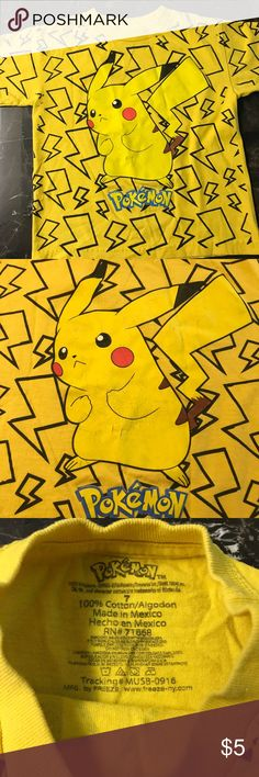 Yellow Pokémon T-shirt ⭐️ MAKE YOUR OWN BUNDLE! Size 7. Good used condition. Another one that my son grew out of fast! No stains or holes that I can see. Some fading and cracking on the design as pictured. Smoke free home. No trades. Bundle and save! Shirts & Tops Tees - Short Sleeve