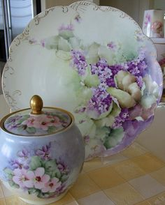 """Huge 14"""" Limoges Charger/Plaque Hand Painted Violets from theverybest on Ruby Lane"""