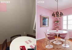 The Pink Dining Room Erik Designed BEFORE He Found His Apartment - Emily Henderson #pink #diningroom #homedesign #interiors Pink Dining Rooms, Dining Room Paint Colors, Dining Room Art, Dining Room Table Centerpieces, Room Decor, House Design, Interior, Home Decor, Indoor