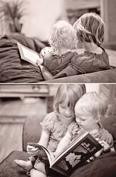 "Love this photographer's blog. This is the sweetest little shot of sisters reading together. Love that the title of the book is ""We like to nurse"" <3."