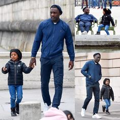 was stepped out with his adorable four-year-old son Winston as they visited the Garden in on Tuesday. Black Actors, Black Celebrities, Idris Alba, Black Celebrity Kids, Michael Ealy, Casual Outfits, Men Casual, Daddys Little Girls, Ali Larter