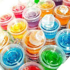 21 Fun Jello Shots : ~BASIC JELLO SHOT 1 Cup boiling water ½ Cup vodka ½ Cup flavored liquor/ schnapps/ pucker 1 Small box jello (3 oz.)