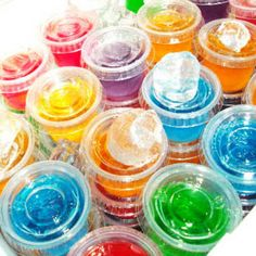 21 Fun Jello Shots : 	~BASIC JELLO SHOT 1	Cup boiling water ½	Cup vodka ½	Cup flavored liquor/ schnapps/ pucker 1	Small box jello (3 oz.)