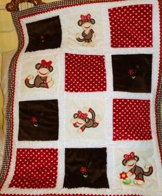 "Personalized Baby Blanket Appliqued, Minky ""Sooo Lovable LIttle Girl  Sock Monkey"". $90.00, via Etsy."