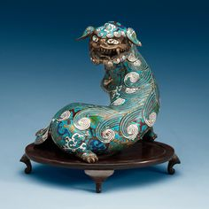 A CLOISONNÉ FIGURE OF A BUDDHIST LION, QING DYNASTY (1644-1912). Height 27,5 cm. CHINESE ANTIQUES : More At FOSTERGINGER @ Pinterest