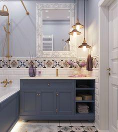 deep blue bathroom cabinets with retro tiles