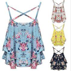 2015 nueva correa de espagueti de la impresión Floral camisa de gasa chaleco blusas del verano mujeres rosa azul negro amarillo camisa en Blusas y Camisas de Moda y Complementos Mujer en AliExpress.com | Alibaba Group