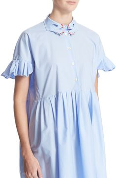 VIVETTA 'Esmeralda' Hand Collar Stretch Cotton Shirtdress