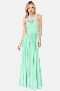 Bariano Best of Both Whirleds Mint Green Lace Maxi Dress Bridesmaids