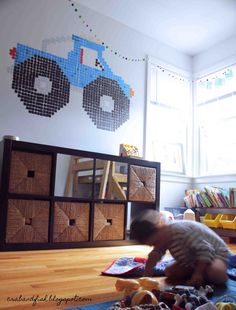 washi tape wall cross stitch for small human room (would also look awesome in Arthur Woodhead bedroom!)