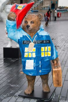 Peter Capaldi's Paddington TARDIS  Fittingly, the statue has been placed on the Prime Meridian line in Greenwich, because for the residents of Earth, that is where time and space begin and end.