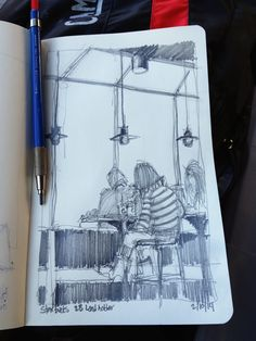 Starbucks. 2B lead holder in Moleskine. © 2014 Andrew Banks
