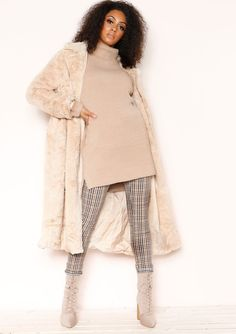 adc8794ccf4 Missyempire - Una Beige Faux Fur Longline Coat Faux Fur Material