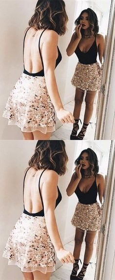 Sparkly V-Back Homecoming Dresses Backless Short Prom Dresses Sleeveless Formal Gowns #fashion#homecomingdress