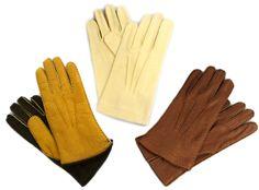 Ochre, Cream, Earth coloured leather gloves