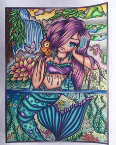 hannahlynn #hannahlynnart #adultcoloringbook #arttherapy #coloriagepouradulte #polychromos #carandache #maui #colourtherapy #mermaid