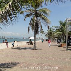 The wide #pedestrian Malecon @visitpuertovallarta is a multi mile long waterfront #park lined with #sculptures #cafes shops - focal point for all in #puertovallarta #wevisitvallarta #Mexico #travel #beach