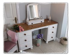 Shabby Chic Dressing Table & Mirror www.chicmouldings.com