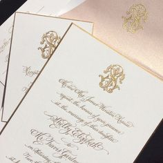 We love this gorgeous gold and blush suite. It's one of our most popular invitations of all time! We love the cohesion of adding a monogram to each card, and Shelby and Travis took it one step further by engraving it onto their envelope liner as well!