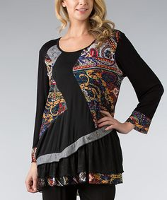 Another great find on #zulily! Black & Blue Paisley Asymmetrical Tunic - Plus by Dalin #zulilyfinds