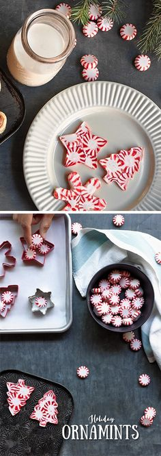 DIY Christmas ornaments ~ fill each cookie cutter with peppermint candies. Break candies into pieces to fill in smaller areas.