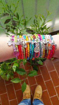 wholesale Bracelets - Boho Chic Colourful Summer Bracelets - seedbeed and metal - stretch bracelets - layering jewelry - bohemian bracelets