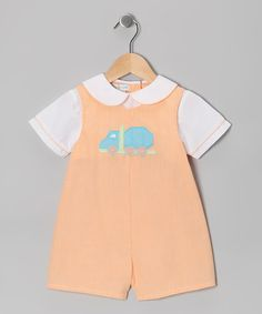 Take a look at this Orange Car Layered Romper - Infant by Petit Pomme on #zulily today!