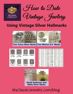 This week's blog article discusses how to date vintage sterling jewelry using silver hallmarks. Read it at: http://www.myclassicjewelry.com/blog/vintage-jewelry-education/silver-jewelry-marks/