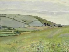 Gilbert Spencer R.A. (British, 1892-1979) Landscape in Dorset Landscape Drawings, Landscape Art, Landscape Paintings, Art Drawings, Art Eras, Papercutting, Art Things, Art Deco Era, Watercolours