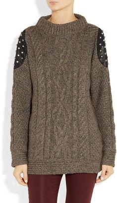 Elizabeth And James Studded Leatherpaneled Cableknit Sweater