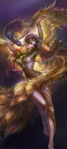 Preciosa Hada junto al impresionante Ave Phoenix.