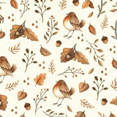 "ninastajner: "" Hope you are enjoying this lovely autumn day doing inktober makes me realize I miss using colours this is the final version of my ""Ease Into Fall"" pattern. #flowers #bird #pattern #fall #autumn #leaves #aquarelle #gouache..."