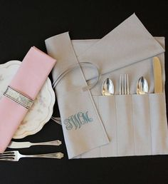 Anti-tarnish flatware roll in gray hold a place setting or 6 of the same pieces. Silver Cutlery, Silver Bags, Sterling Silver Flatware, Silverware Storage, Silverware Holder, Contemporary Home Decor, Home Decor Styles, Handmade Shop, Bag Storage