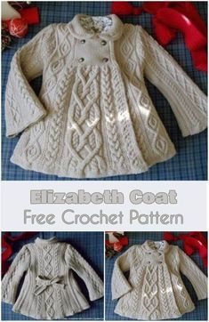 Crochet Baby Elizabeth Coat [Free Crochet Pattern] - This classic and elegant coat beautiful will make any little girl look like a princess of old on an outing. The pattern had originally come from Russia and, due to the two layers of translation, the d Pull Crochet, Crochet Coat, Baby Girl Crochet, Crochet For Kids, Crochet Children, Crochet Tree, Crochet Dress Girl, Crochet Baby Bonnet, Crochet Summer
