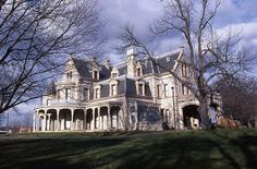 """On the National Historic Register. Norwalk, CT Used for the TV show """"Dark Shadows"""" and the original and remake of the """"Stepford Wives"""". I just realized this image is reversed. Vampire House, Abandoned Detroit, Beautiful Homes, Beautiful Places, The Originals Tv, Old Mansions, New England Homes, Second Empire, Classic Architecture"""