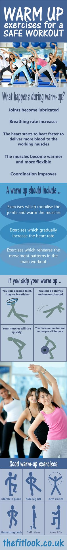 Warm up exercises may seem like a waste of time, but a few minutes warming up makes a big difference to your workout. With warm up exercise chart.