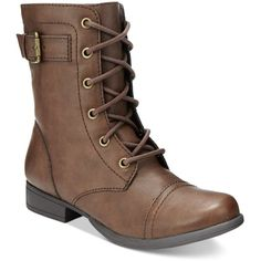 American Rag Faylln Combat Booties, ($60) ❤ liked on Polyvore featuring shoes, boots, ankle booties, brown, brown boots, wide boots, military boots, cap toe combat boots and toe cap boots