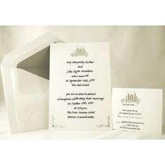 Wedding Castle Silver Blank Wedding Invitations   ThisNext