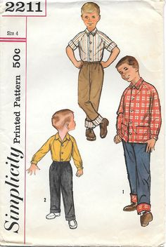 Simplicity 2211 - 1950's Boy's Shirt and Pants with Turned Up Cuffs Vintage Sewing Pattern, by GrandmaMadeWithLove