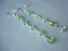 Long Green Beaded Earrings // https://www.etsy.com/listing/200755178/long-green-beaded-earrings-long-dangle?ref=shop_home_active_1 // #earrings #long #beaded #green #cube #crystals #hypoallergenic #handmade #etsy #longearrings #beadedearrings #greenearrings #cubeearrings #crystalearrings #glassearrings #hypoallergenicearrings #handmadeearrings #etsyearrings