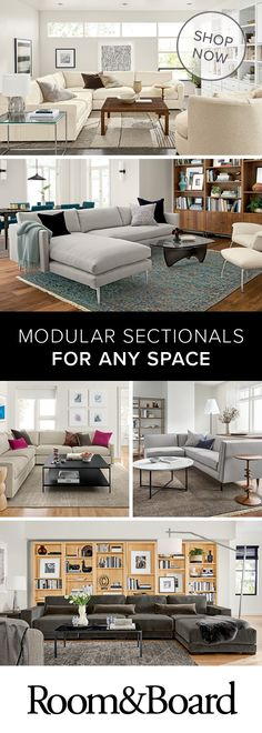Create a comfortable living room with modern sectionals. Sectionals are offered in multiple sizes and configurations to fit your style and your space. We offer L-shape and reversible chaise sectionals, Small Living Rooms, Living Room Inspiration, Small Living Room, Casual Family Rooms, Modern Sectional, Living Room Designs, New Homes, Small Room Design, Room Design