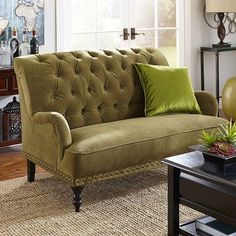 Wonderful Chas Olive Green Velvet Loveseat