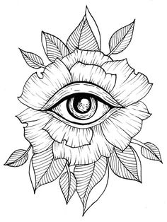 Flower Eye Tattoo Line Art Flash Art Leaves Leaf Geometric . - Tattoos of Hannah Tattoo Sketches, Tattoo Drawings, Drawing Sketches, Art Drawings, Drawing Art, Trippy Drawings, Flash Art, Geometric Flower, Geometric Art